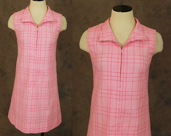 CLEARANCE Sale vintage 60s Dress - 1960s Pink Plaid Shift Dress Mini Dress Sz S