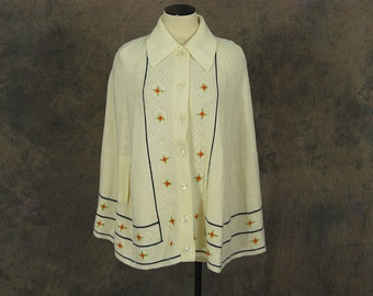 Clearance SALE vintage 70s Knit Cape - 1970s Hippie Ivory Folk Embroidered Sweater Poncho  Sz S M L
