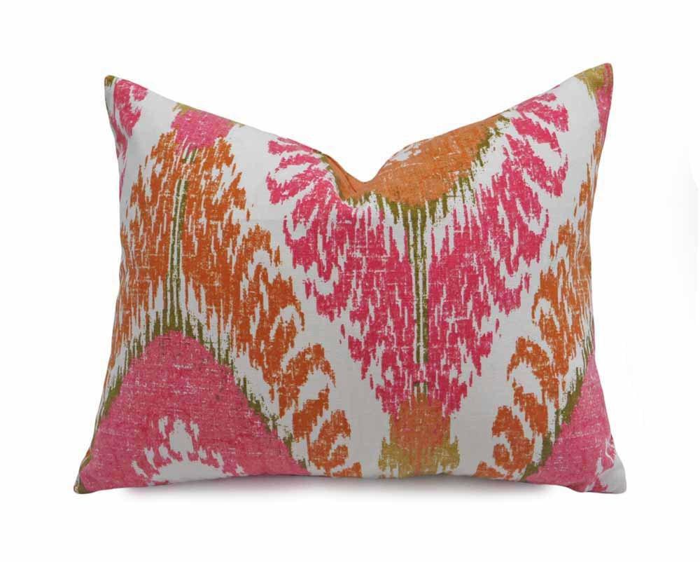 Pink Bohemian Pillow Orange Pink Cushion Ikat Lumbar Pillow