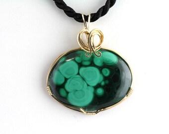 Malachite Pendant. Listing 386578802