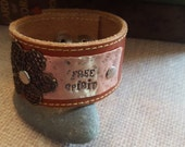 """Up-Cycled Tan Leather Cuff Bracelet  with Words """"Free Spirit"""" on Copper Metal"""