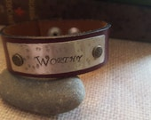 """Burgundy Red Leather Cuff Bracelet  with Words """"WORTHY"""" on Silver Metal"""