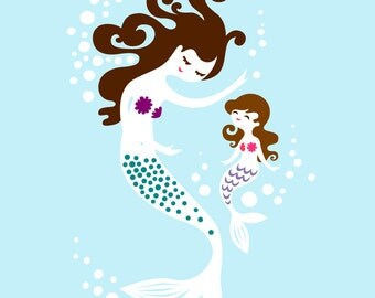"8X10"" mermaid mother & daughter giclee print on fine art paper. ice pop blue, black and dark brunette hair"