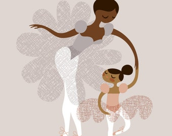 """8X10"""" ballerina mother and daughter giclee print on fine art paper. mauve pink, lavender gray, chocolate brown and mocha skin tones"""