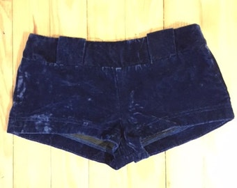 Betsey Johnson Punk Label (late 70s/early 80s) Blue Velvet Go Go Shorts