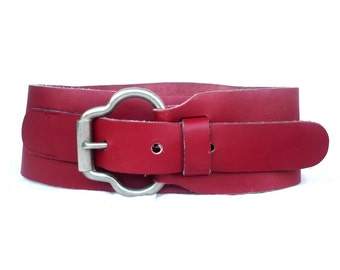French Vintage Maxi Red Letaher Belt / Corset Belt