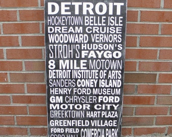 Detroit Subway Art Sign, Personalized Subway Art, Typography Sign, Destination Art Sign, Memory Sign, Detroit Michigan Sign