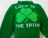 Hand knit St. Patricks Day  Hand Knitted Child Sweater, Size 18 month, kelly green