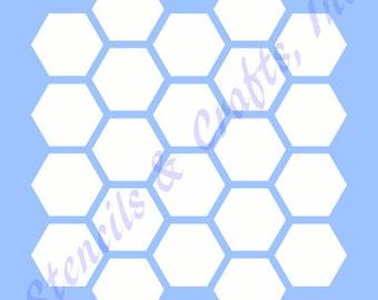 """1"""" HONEYCOMB HEXAGON STENCIL beehive shape background pattern template templates craft paint art pochoir scrapbook new 6"""" x 6"""""""