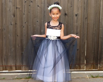 Black and White Flower Girl Dress for Girl