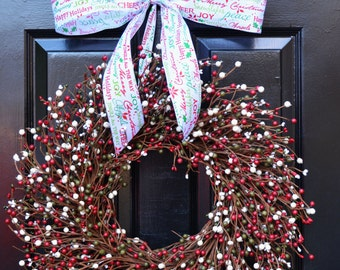 Christmas Wreath- Red Green Cream Door Wreath- Winter Wreath- Christmas Decor- Winter Decor- Christmas Decoration- Berry Wreaths