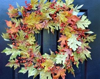 FALL WREATH SALE Fall Leaves Wreath- Fall Wreath- Fall Decor- Autumn Wreath- Fall Decor- Wreath with Bow- Front Door Wreath- Fall Leaves- Wa