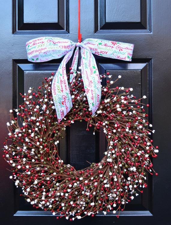 Christmas Wreath- Red Green Cream Door Wreath- Winter Wreath- Christmas Decor- Winter Decor- Christmas Decoration- Ready to Ship