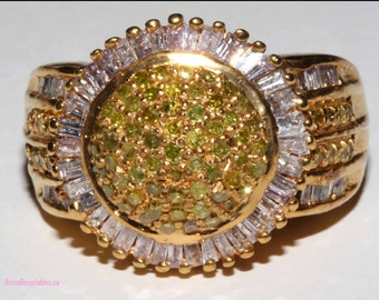 genuine yellow and white diamond daisy style ring 1 carat in diamonds in total size 6 gold over sterling silver