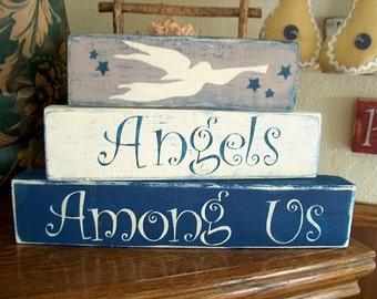 Primitive Shelf Blocks Angels Among Us Christmas Decor Wooden Blocks Angels Trumpet Shabby Cottage Chic