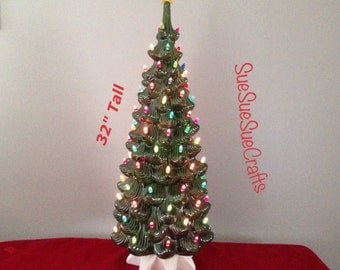 """32"""" Tall Vintage Ceramic lighted Green Christmas Tree   FREE SHIPPING to lower 48 states"""