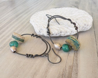 Eclectic Green Hoop Earrings, Rustic, Bohemian, Prayer Bead Earrings, Handmade