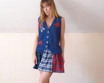 extra 30% off SALE ... Denim and Plaid Flannel Patchwork Drop Waist Mini Dress - Vintage 90s - MEDIUM M Petite