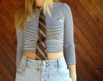 Striped 60s Clip On Neck Tie - Vintage