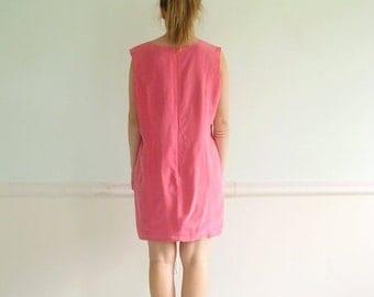 30% off ... Bright Pink SILK 90s Shift Mini Dress - Vintage - LARGE L
