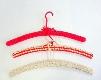 Vintage Crochet Covered, Wood Hangers, Set of 3  Red Yellow Beige Retro Decor, Clothing Display Treasured item