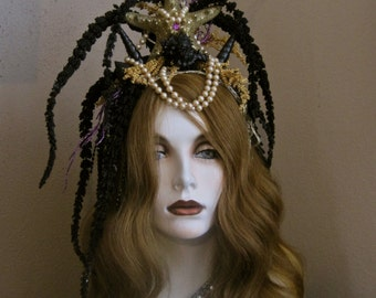 Dark Siren: Mermaid Crown Headpiece Fantasy Headband Genuine Starfish Black Spiked Shells Evil Enchantress 50s Pearls Gold Purple Sparkle