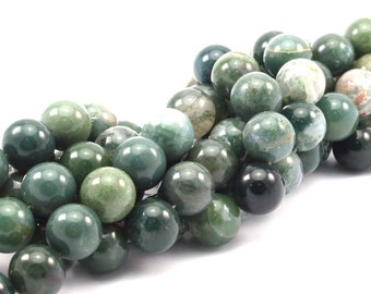 Moss Agate  14mm Gemstone Beads Full Strand G477