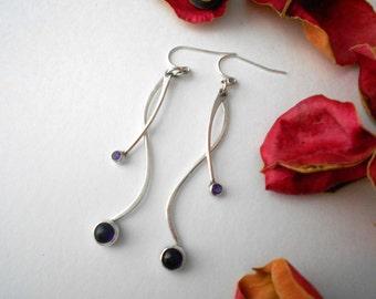 amethyst earrings, sterling silver, everyday earrings, February birthstone, purple gemstone earrings, curvy, feminine, ready to ship