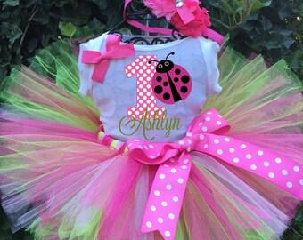 Ladybug Three Piece Tutu Set - Ladybug Birthday Outfit - 1st Birthday