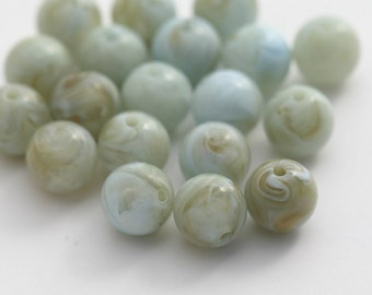 Vintage Sage Green Caramel Round Marbled Lucite Beads 10mm (20)
