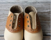 Baby Brown Faux Leather Saddle Oxfords