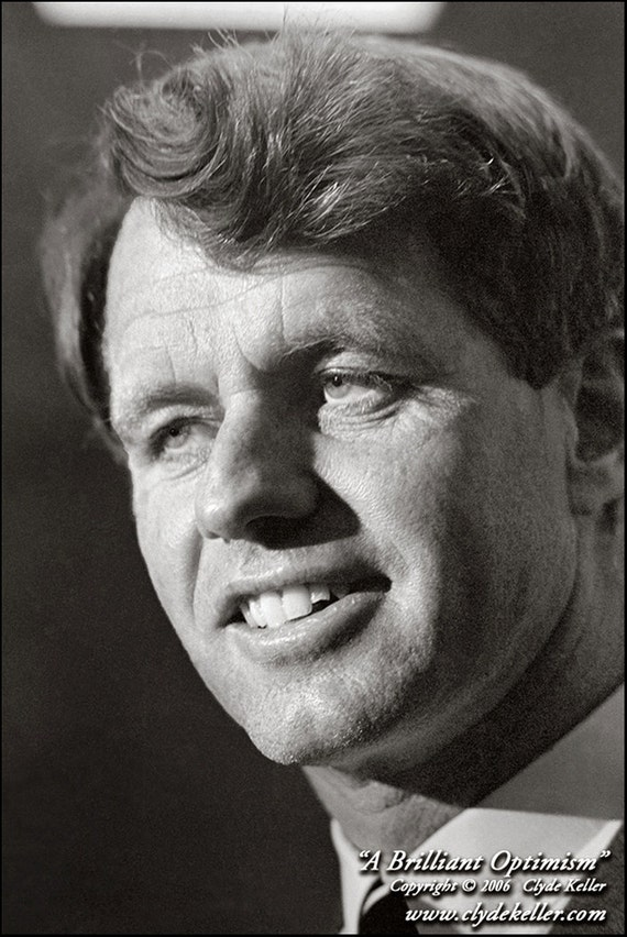 Robert F. Kennedy, A BRILLIANT OPTIMISM, Clyde Keller Photo, Fine Art Print, Black and White, Signed,  vintage 1966 image