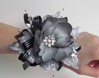 Great Gatsby Silver & Black Prom Corsage, Ready to Ship