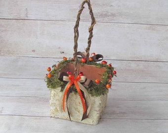 Orange Berry and Moss Decorated Square Birch Flower Girl Basket, for your Fall Wedding