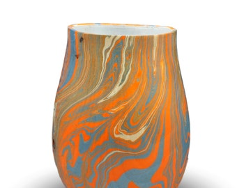 Metamorphosis in Blue and Orange  - Wooden vessel