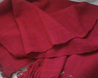 Sale: Handwoven wrap in red magenta with fringe Merino wool