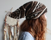 Earthy Brown Wild Child Fair Isle Knit Recycled Sweater Long Gnome Beanie Eco Friendly Gypsy Hippie Hat Gifts For Her