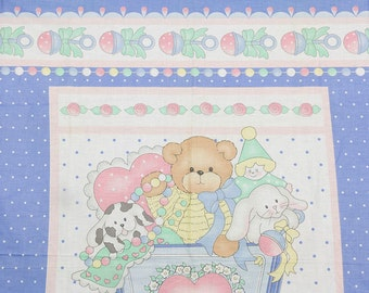 1993 Vintage fabric Daisy Kingdom, Inc.Cradle of Fun by Lucy Rigg Printed in the USA, Bunnies Puppies Bears Cotton fabric Baby Quilt