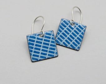 Blue Dangle Earrings - Blue Enamel Earrings - Square Earrings - Enamel on Copper and Sterling Silver - Modern Jewelry - Gift for her