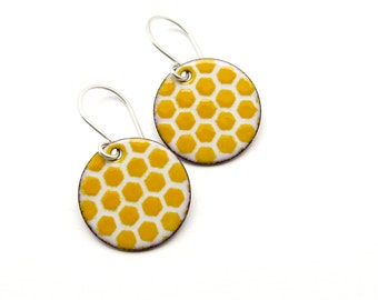 Yellow Honeycomb Earrings - Enamel Earrings - Enamel Jewelry - Yellow Earrings - Yellow Enamel - Honeycomb Jewelry