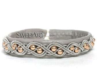 SwedArt B20-G Aurora Gold Sami Reindeer Leather Bracelet 14K Rose Gold Filled Beads Antler Button  Light Gray X-SMALL