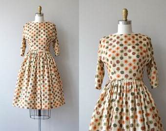 Daisy Dot dress | 1950s silk dress | vintage 50s dress