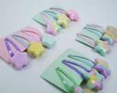 Polymer clay fairy kei star snap clip set - Decora decoden pastel accessories