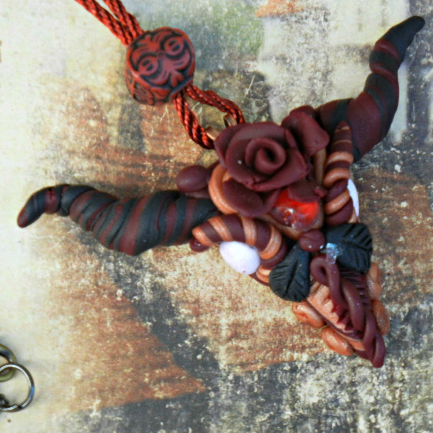 Red Clay Dragon: Polymer Clay Red And Black Dragon Head Necklace