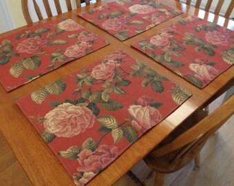 Oversize Floral Placemats Set of 4 Burgundy