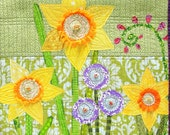"Spring wall quilt- daffodils, purple and pink flowers on green- hand embroidered, appliqued, art quilt, ""Joyous Spring"" ships free to US"