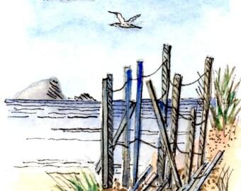 "ACEO Print of original watercolor and ink ""Beach Walk"" by Elizabeth"