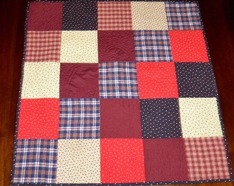 Americana, Quilted Table Runner, Patriotic, Sale Priced, Square Table Topper, 26x26 inches, Dining Table Decor, Machine Quilted
