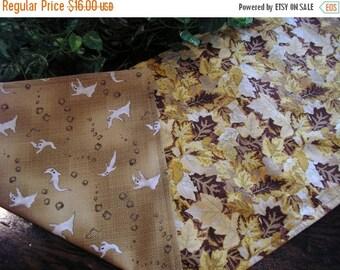July Sale Halloween Table Runner Ghosts Batik Reversible Autumn Leaves Padded