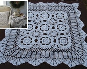 Hand Crochet 24in Square Doily Small table Topper for Cottage/Victorian/Shabby/Boho/French Style,Tea Party, Pillows Making and more